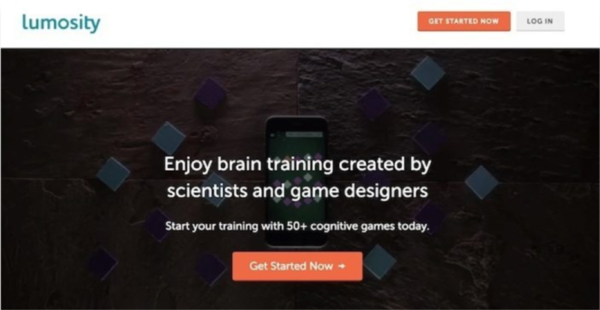 Example of Click-Through Landing Page on Lumosity