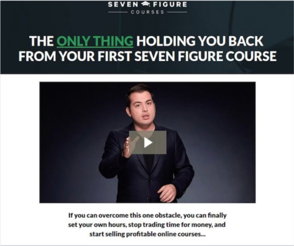 Example of Sales Landing Page from Seven Figure Courses