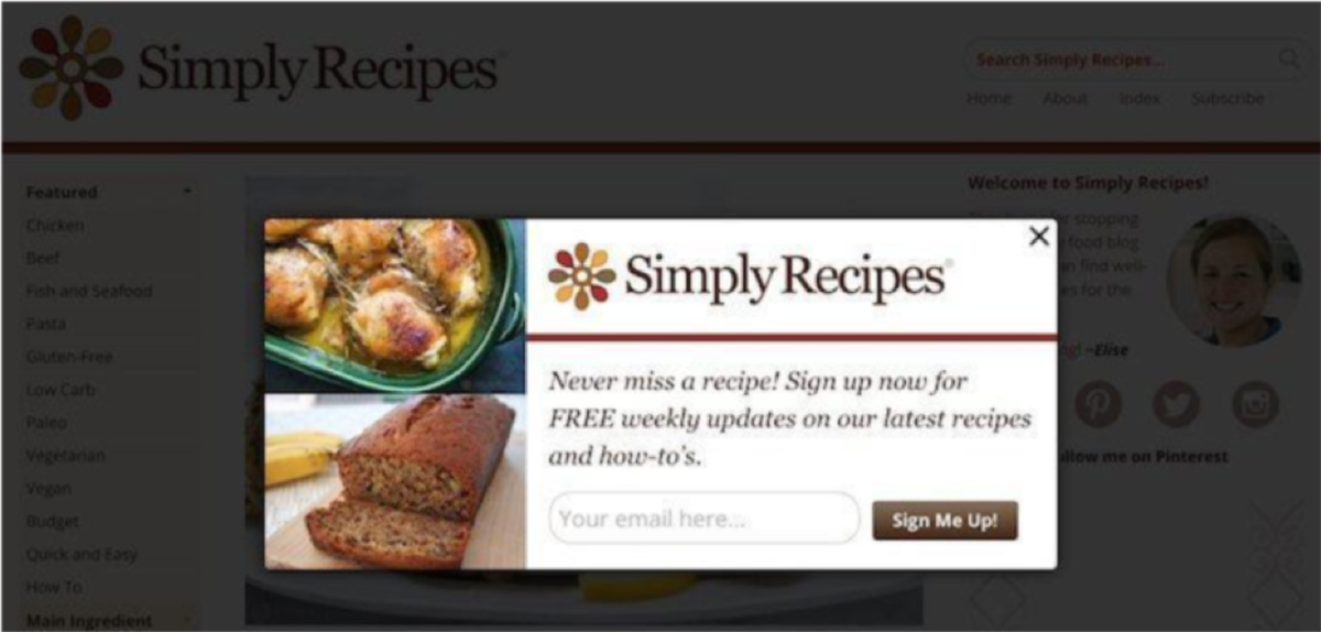 Example of Squeeze Landing Page from Simply Recipes
