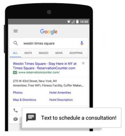 Search Ad Message Extension