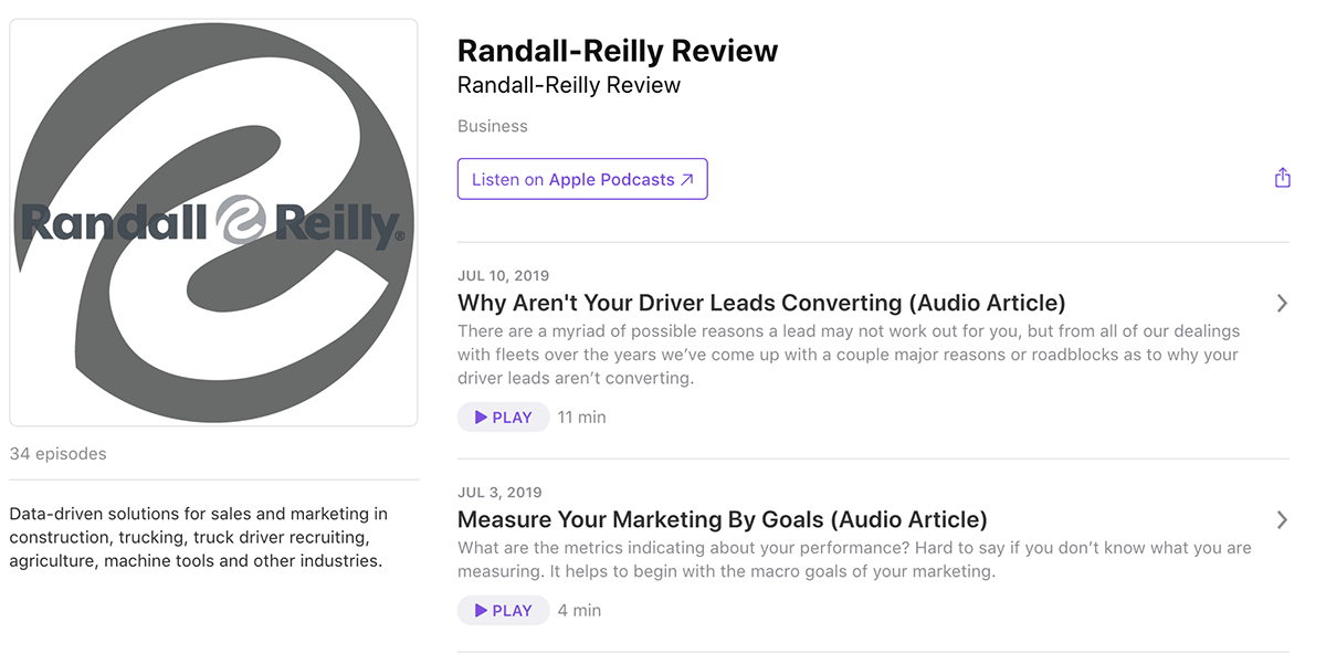 Randall-Reilly Review on Apple Podcasts
