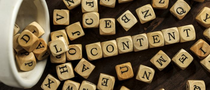 block letters featuring 'content' for marketing